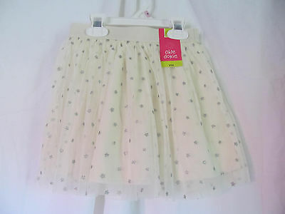 Nwt Girl's Okie Dokie Cream,silver Star Design Tulle Knee Length Skirt Size L6 Traveling Clothing, Shoes & Accessories