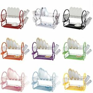 2-Tier-Chrome-Dish-Drainer-with-Plates-Rack-Glass-Holder-drip-Tray