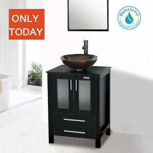 Details About Black Bathroom Vanity 24 Inch Mirror Single Top Wood Vessel Gl Sink W Faucet