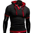 Men Summer Hooded Pullover Short Sleeve T-shirt Tops Tee Blouse Slim Fit Sweater