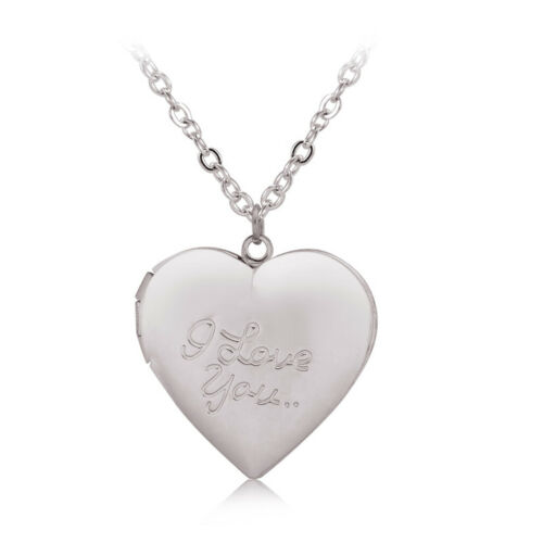 Customized Heart-Shape I Love You Engraved Locket Necklace DIY Photo Box Jewelry