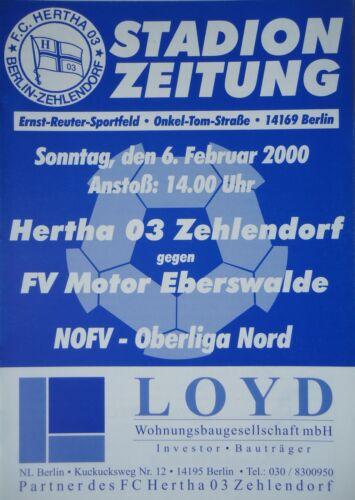 Programm 1999//00 Hertha 03 Zehlendorf Motor Eberswalde