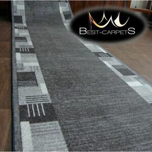 THICK-Runner-Rugs-MONTANA-grey-modern-NON-slip-Stairs-Width-67-100cm-extra-long