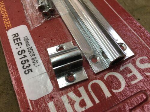 """4/"""" 100 mm S1535 Chrome Barrel Slide Door Bolt Salle de Bain Chambre confidentialité Box 11"""