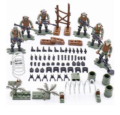 6pcs/set Military Jungle Soldiers Building Blocks Brick Models Figures Toys Rheuma Lindern Spielzeug