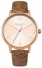 Daisy Dixon Amelia Dark Gold Pu Strap Watch With Pale Rose Sunray Dial