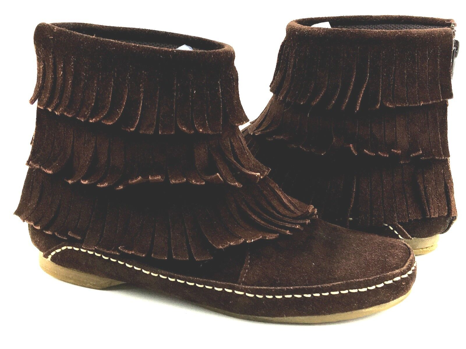 Steve Madden Three tier-Fringe Moccasins Moccasins Moccasins Women's Brown Boots Size 5 Usa. f54f2c