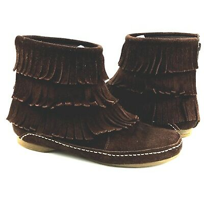 Steve Madden Three tier-Fringe Moccasins Women's Brown Boots Size 5 Usa.