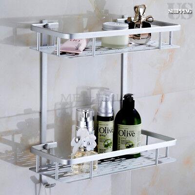 2 Tiers Bathroom Wall Shelf Storage Rack Aluminum Shower Caddy ...