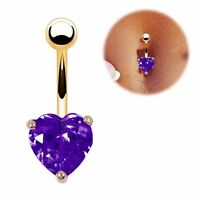 Body Piercing Purple Gold Plated Heart Navel Ring Belly Bar CZ Gem UK Seller