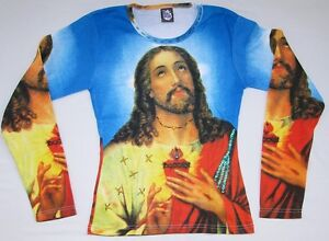 Jesus-Christ-Religion-Tattoo-Designer-Super-Star-VIP-Art-Paillettes-T-shirt-G-S