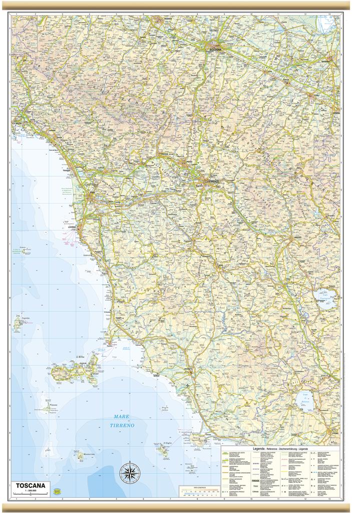 Cartina Stradale Toscana Dettagliata.Toscana Carta Regionale Murale 67x100 Cm Mappa Cartina Poster Belletti Ebay