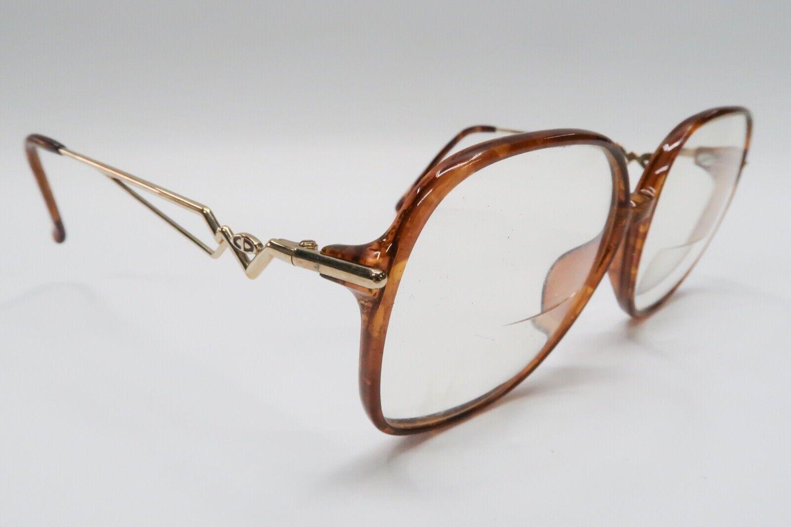 Vtg Christian Dior 2544 Rx Eyeglasses Frames 58[]14-135 Brown Gold Tortoise A529