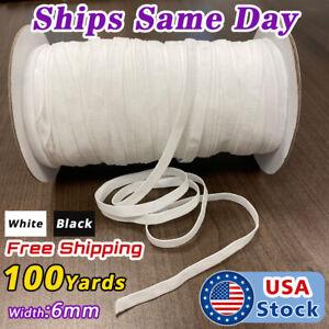 100yds-6mm-1-4-034-White-Satin-Elastic-Cord-Spandex-Band-Sewing-Trim-Braided-DIY