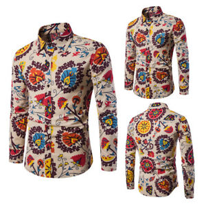 Mens-Fashion-Casual-Long-Sleeve-Shirt-Business-Slim-Fit-Shirt-Print-Blouse-Top