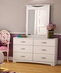 Details about White 2 Piece 6 Drawer Double Dresser Mirror Set Home Bedroom  Storage Furniture