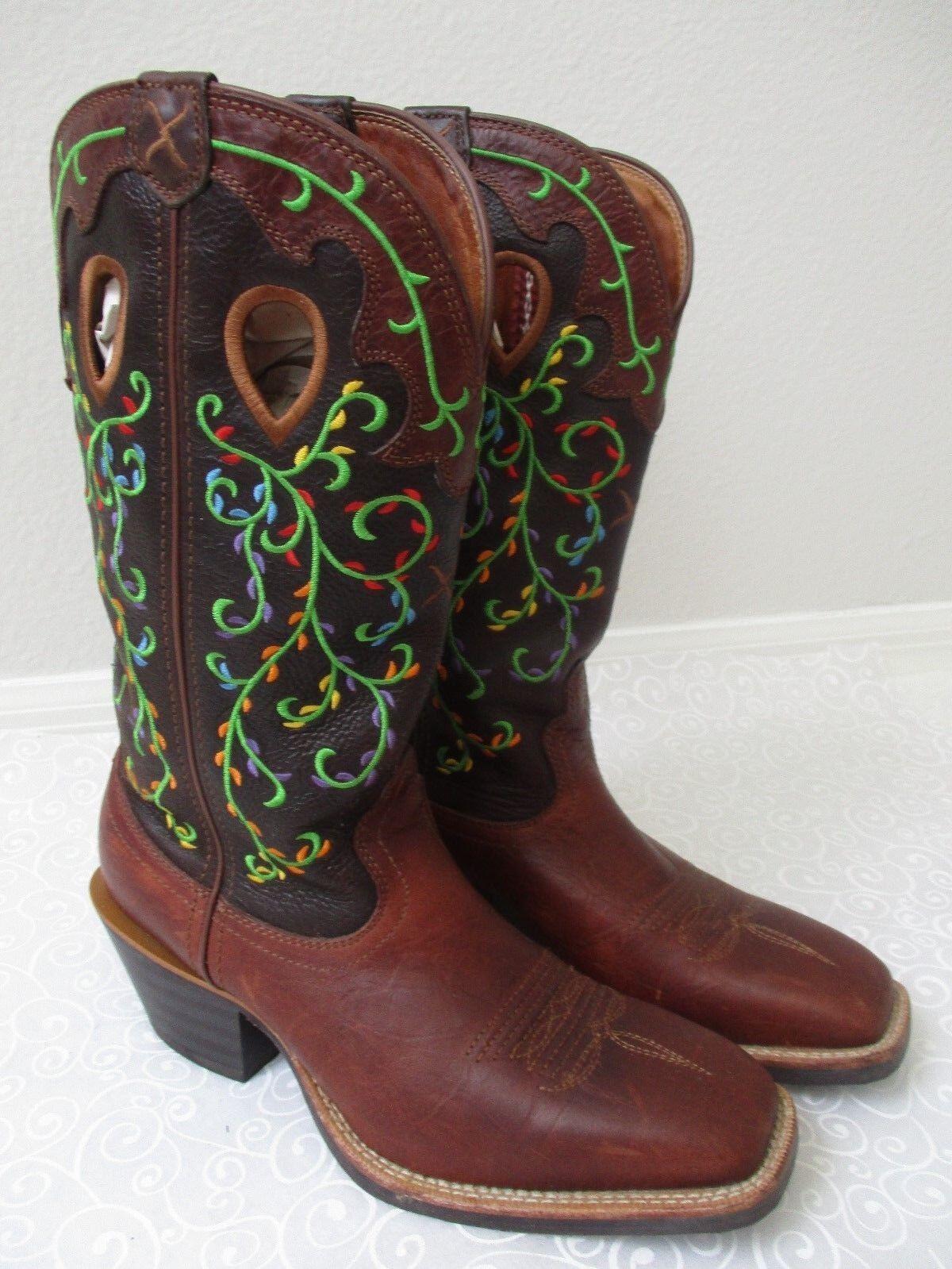 Trenzado X botas de estilo vaquero bordado Marrón Talla Talla Talla 9 M  marca