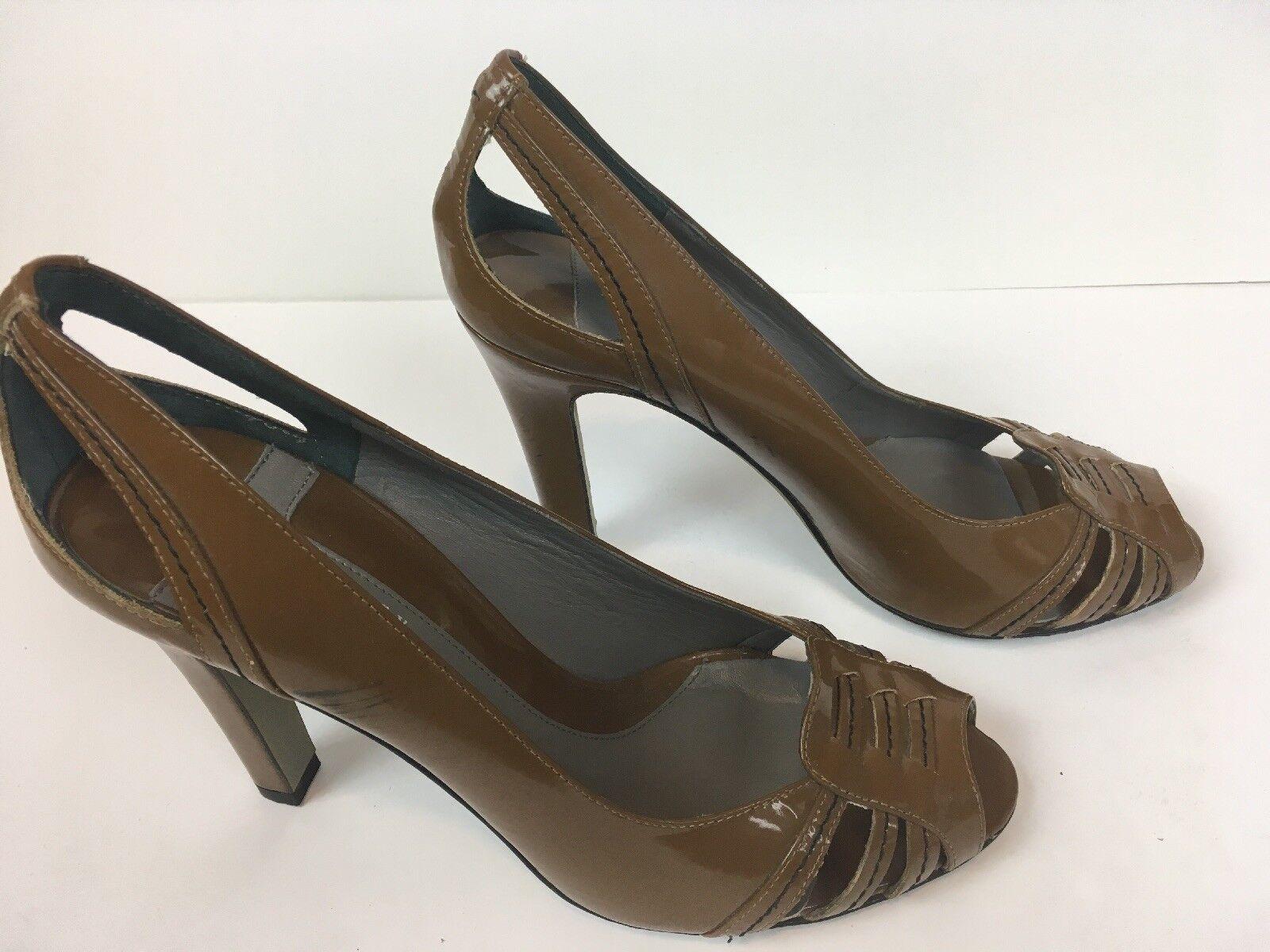 conveniente Theory donna scarpe Dimensione 39 Marrone Slingback Heels Heels Heels Leather Peep Toe Pumps SB1  risparmia il 50% -75% di sconto
