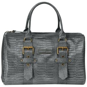 Details about NWT Kate Moss for Longchamp Goucester Duffel Tote Handbag -  Grey Croc Leather