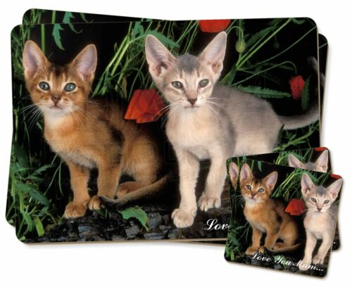 Abyssinian Cats 'Love You Mum' Twin 2x Placemats+2x Coasters Set in , AC42lymPC