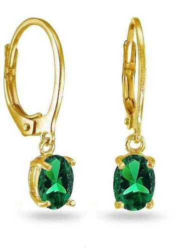 Details about  /Yellow Gold Flashed Sterling Silver Created Emerald 7x5mm Oval Dangle Earrings