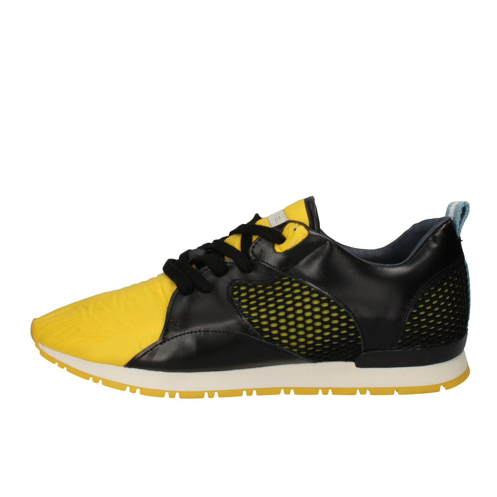 herren schuhe D.A.T.E. (date) 42 EU sneakers schwarz gelb leder textil AE533-B