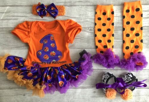 PERSONALISED 1ST HALLOWEEN TUTU ROMPER Witch Baby Girl Outfit 1st Halloween