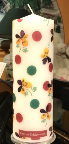 Emma Bridgewater Pois Violet design hand decorated pilier bougie 20X7CM