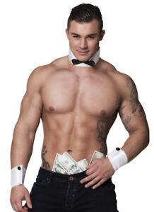 Homme strip stripper deguisement costume collier noeud papillon poignets set kit
