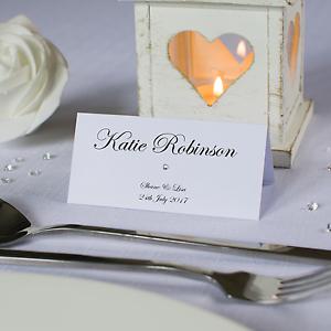 Personalised wedding place cards name cards white ivory kraft