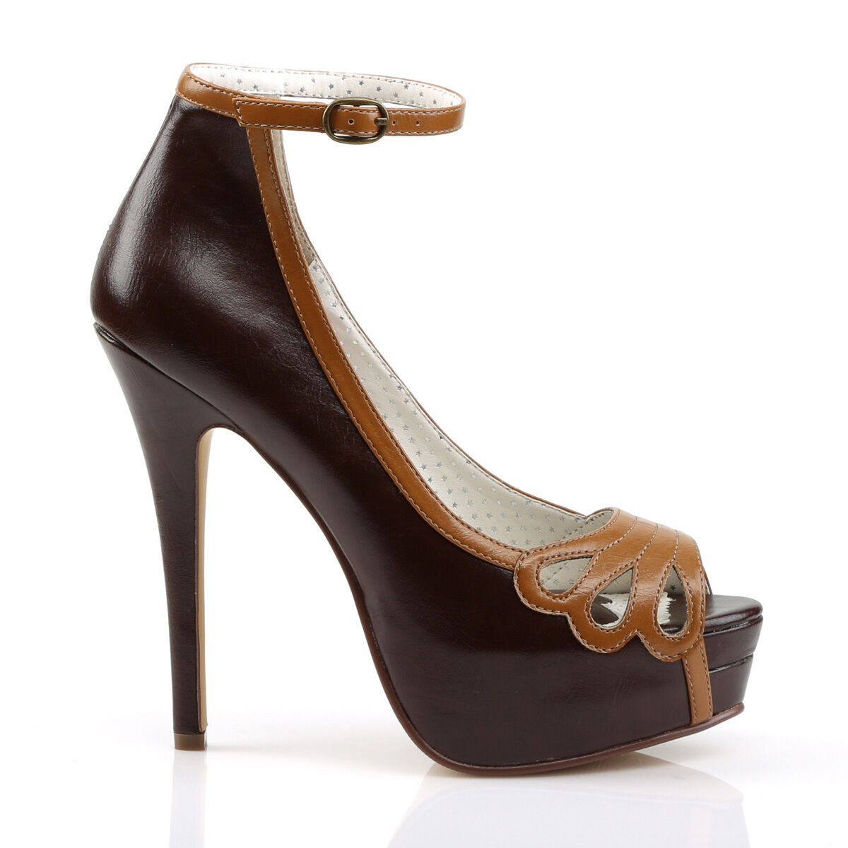 Bella Pin-Up marron Maple Ankle Strap Peep Toe Pump chaussures High Heel chaussures Taille 11