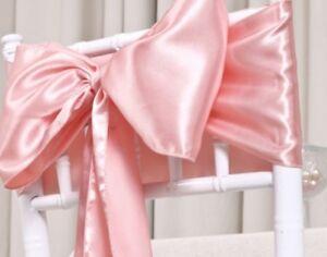 100 Blush Pink Satin Chair Sash Bow Sashes Wedding Banquet Events Venue Decor Ebay