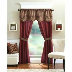 5-Piece Curtain Panel Set Elegant Red Curtains Home Living Room Kitchen  Bedroom