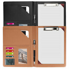 Business Leather Padfolio Portfolio Folder Organizer Resume Notebook Black Red