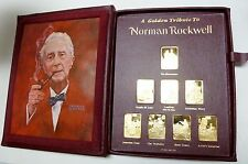 A GOLDEN TRIBUTE TO NORMAN ROCKWELL SET 24KT GOLD BRONZE BAR RARE, Great Gift