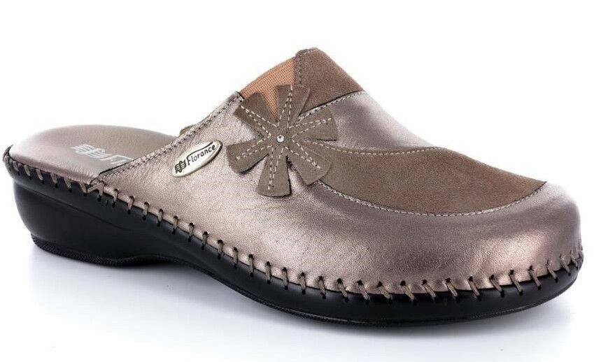 Florance C23054 Slipper Sabot Woman Leather col tortora-pearl Made in