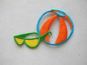 4226-2-1-2-034-Beach-Ball-Sunglass-Embroidery-Iron-On-Applique-Patch