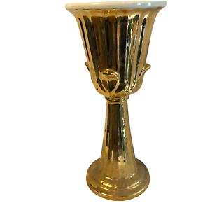 Vintage-Haeger-Pottery-Golden-Pedestal-Tall-Planter-Vase