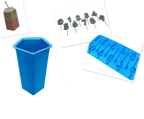 Pentagon 5 Sided Pillar Candle Mould /& Birthday 0-9 Number Tray S7604 Set x 2