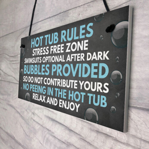 Shabby Hot Tub Rules Novelty Hanging Garden Shed Plaque Jacuzzi Pool Funny Gift