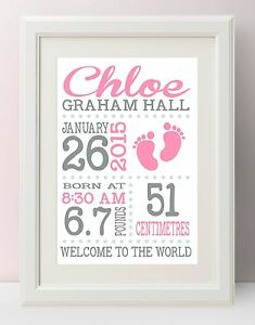 Personalised Newborn Baby Girl Birth Details Nursery Print