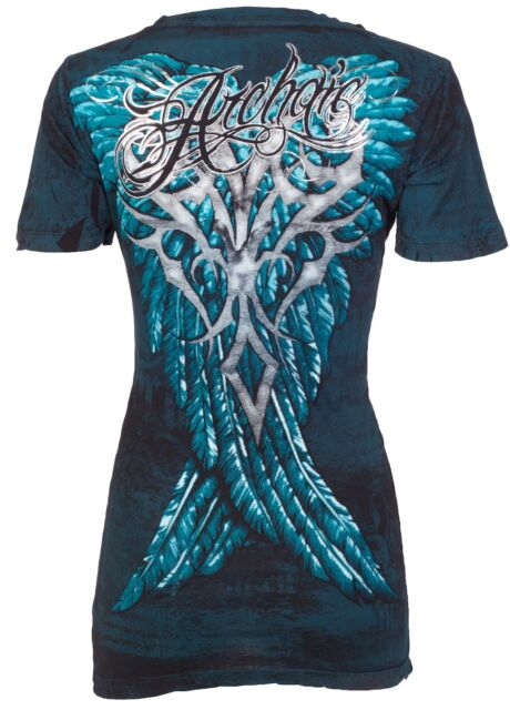 Archaic AFFLICTION Womens T-Shirt BRAVE Teal Wings Tattoo Biker Sinful S-XL $40