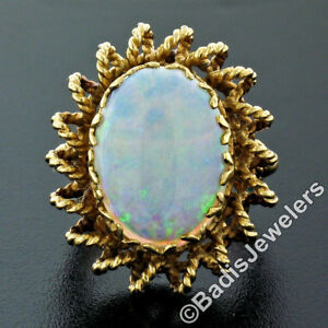 Vintage-14k-Yellow-Gold-Cabochon-Oval-Opal-Solitaire-Twisted-Wire-Cocktail-Ring