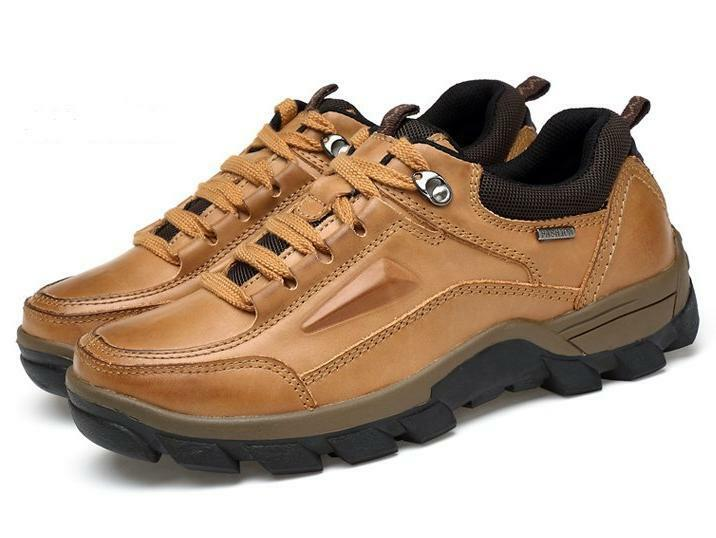 Outdoor Mens real leather Mountain Climbing Athletic Hiking shoes Plus Size