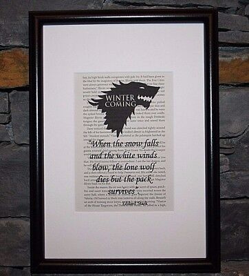 Framed Game Of Thrones Book Page Art Winter Is Coming Stark Print Quote