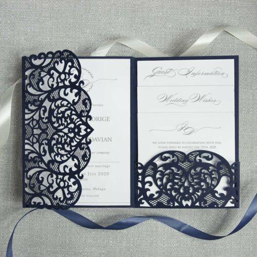 BEST FORMAL NAVY BLUE LASER CUT WEDDING INVITATIONS DIY POCKET FREE SHIPPING!