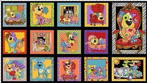 Loralie-Joy-Dog-Panel-Multi-Color-Fabric-24x44-Loralie-Designs