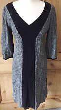 Noa Noa Grey and Black Viscose Vintage Style Dress. Boho. Size Small (10 12 UK)