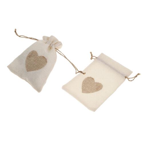 20x Pochettes en Lin Sachets de Jute Naturel de Cœur avec Cordon Serrage