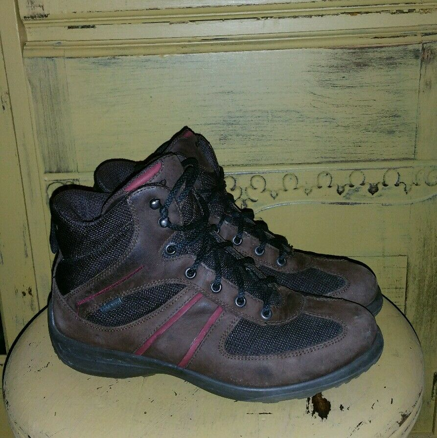 ECCO LEATHER BROWN GORETEX GORE-TEX LADIES HIKING TRAIL BOOTS 37 6.5 M